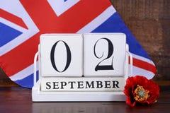 Extremidade WWII da data de calendário do 2 de setembro de 1945 fotografia de stock