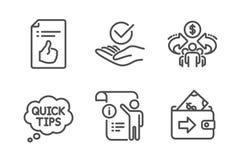 Extremidades aprobadas, r?pidas y distribuci?n del sistema de los iconos de la econom?a Documento aprobado, doc. manual y muestra ilustración del vector
