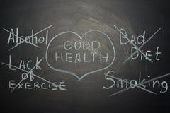 extremidades de la buena salud en un tablero negro Un concepto para los doctores imagenes de archivo
