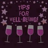 Extremidades del texto de la escritura para el bienestar Concepto que significa consejos para indicar de ser vino llenado sano o  ilustración del vector
