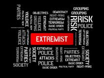 EXTREMIST - CONSERVATIVE - image with words associated with the topic EXTREMISM, word, image, illustration. EXTREMIST - CONSERVATIVE - image with words Royalty Free Stock Photo