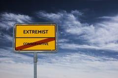 EXTREMISTISCH - CONSERVATIEF - beeld met woorden verbonden aan onderwerpextremism, woord, beeld, illustratie stock fotografie