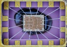 Extremo cercano para arriba de microprocesador del silicio Fotos de archivo libres de regalías