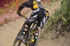 Extremo cuesta abajo biking Foto de archivo libre de regalías