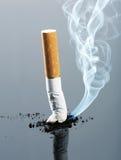 Extremo de cigarrillo con humo Fotografía de archivo