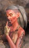 Extremo del mundo del polvillo radiactivo de la muchacha del demonio del vampiro Imagen de archivo libre de regalías