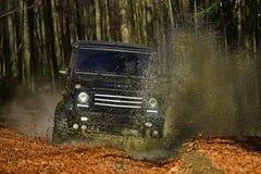 Extremo, desafio e conceito do veículo 4x4 SUV ou carro offroad no trajeto coberto com as folhas que cruzam a poça com sujo Imagem de Stock