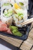 Extremo próximo acima na refeição do sushi Fotografia de Stock