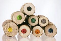 Extremos de lápices coloreados naturales grandes Fotos de archivo libres de regalías