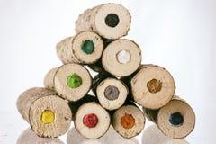 Extremos de lápices coloreados naturales grandes Fotografía de archivo libre de regalías