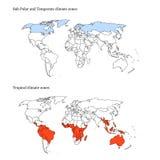 Extremos de la correspondencia de las zonas de clima del mundo Imágenes de archivo libres de regalías