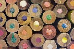 Extremos de madera coloreados del lápiz Foto de archivo libre de regalías