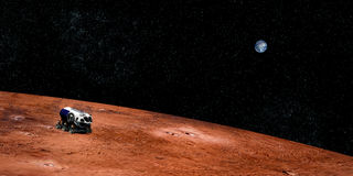 Extremt detaljerad och realistisk hög bild för upplösning 3D av ett utforskning av rymdenmedel på Mars Skjutit från yttre rymd Arkivfoto