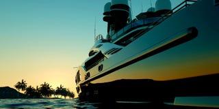 Extremt detaljerad och realistisk hög illustration för upplösning 3d av en lyxig mega yacht stock illustrationer