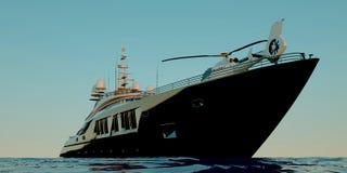 Extremt detaljerad och realistisk hög illustration för upplösning 3d av en lyxig mega yacht royaltyfri illustrationer