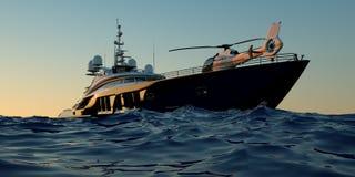 Extremt detaljerad och realistisk hög illustration för upplösning 3D av en lyxig toppen yacht stock illustrationer