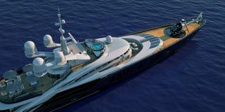Extremt detaljerad och realistisk hög illustration för upplösning 3D av en lyxig toppen yacht royaltyfri illustrationer