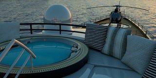 Extremt detaljerad och realistisk hög illustration för upplösning 3D av en lyxig toppen yacht vektor illustrationer