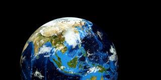 Extremt detaljerad och realistisk hög illustration för upplösning 3D av en tyfon som slår fastlandet Kina Skott från utrymme Best Royaltyfri Illustrationer