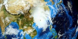 Extremt detaljerad och realistisk hög illustration för upplösning 3D av en tyfon som slår fastlandet Kina Skott från utrymme Best Vektor Illustrationer