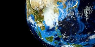 Extremt detaljerad och realistisk hög illustration för upplösning 3D av en tyfon som slår fastlandet Kina Skott från utrymme Best Stock Illustrationer