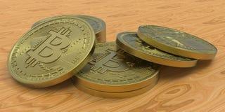 Extremt detaljerad och realistisk hög illustration för upplösning 3D Bitcoin Arkivbild