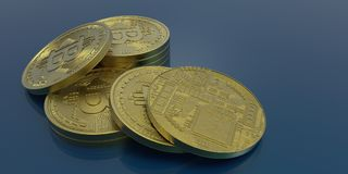 Extremt detaljerad och realistisk hög illustration för upplösning 3D Bitcoin Fotografering för Bildbyråer