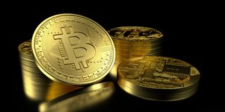 Extremt detaljerad och realistisk hög illustration för upplösning 3D Bitcoin Royaltyfri Foto