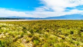 Extremt - lågvattennivå i den Theewaterkloof fördämningen som är en viktig källa för vattenförsörjning till Cape Town arkivfoton