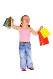 extremt lycklig shoppare för flicka Arkivbild