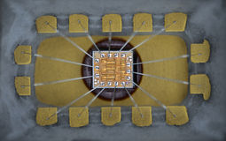 Extremt slut upp av silikonmikrochipen Arkivbilder