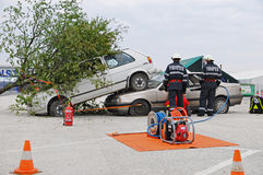 Extrication and paramedic in action royalty free stock photography