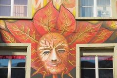 Extérieur du vieux fresque sur le mur médiéval de bâtiment dans Lucern, Suisse Image stock