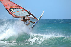 Extrim femail Windsurfing in Jericoacoara Stock Photos