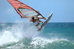 Extrim femail Windsurfing in Jericoacoara Royalty Free Stock Photo
