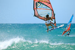 Extrim femail Windsurfing in Jericoacoara Royalty Free Stock Images