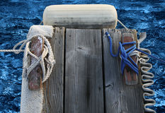 Extrémité de doigt de dock de bateau Photos libres de droits