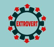 Extrovert character. Psychlogy metaphor Stock Images