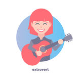 Extrovert image. Behavioral type. Flat icon of girl playing the guitar. Modern vector illustration of woman with red hair. Image is out of circle range royalty free illustration