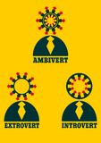 Extrovert, introvert and ambivert metaphor. Extrovert, introvert and ambivert simple icon metaphor. image relative to human psychology Royalty Free Stock Photography