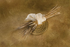 Extrude and wheat on gold. Extrude (tool for making dough made of bronze and steel) and a bunch of wheat on gold background stock photo