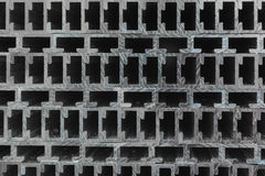 Extruded Aluminium Channel. Cross sections of extruded aluminium or aluminum channels for use in manufacturing and fabrication Royalty Free Stock Image