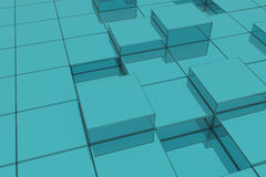 Extruded blue glass cubes. 3d rendering of extruded blue glass cubes.Illustration Royalty Free Stock Images