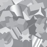 Extruded 3D shapes overlapping, in gray scale. Digitally generated, base 2D shapes digitally extruded to form decorative gray scale pattern Royalty Free Stock Photography