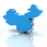 Extruded map of China. 3d render of extruded map of China, white background Royalty Free Stock Photo
