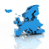 Extruded map of Europe Royalty Free Stock Photo