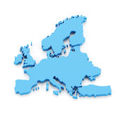 Extruded map of Europe. 3d render, white background Royalty Free Stock Image