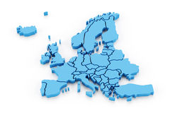 Extruded map of Europe. With national borders, 3d render Royalty Free Stock Photo