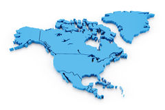 Extruded map of north america with national Stock Image
