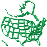 Extruded map of USA Stock Photography